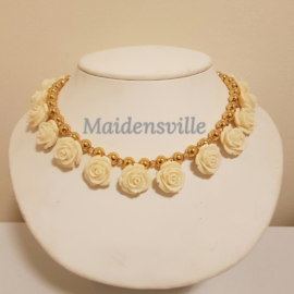 Carved Composite Coral Gold Necklace