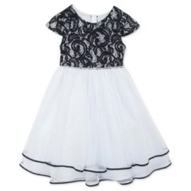 RARE EDITIONS Girls White Black Dress