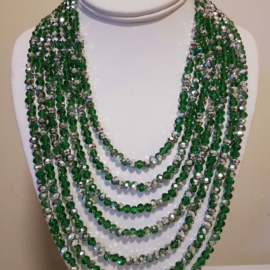 Emerald Silver Crystal Necklace
