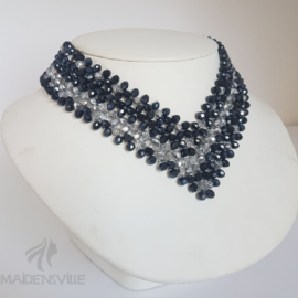 Navy Silver Bridal Necklace